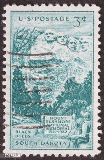 old Mount Rushmore memorial stamp.