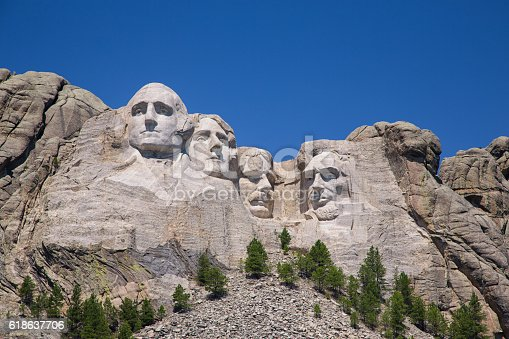 Great detail and textures of Mount Rushmore with blue sky.