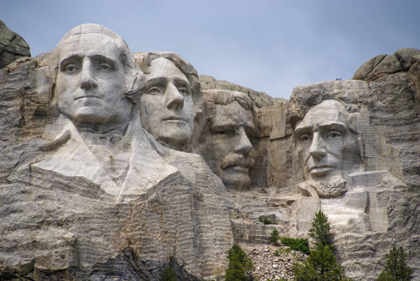 Mount Rushmore Presidential Sculpture. Famous Landmark and Mountain Sculpture - Mount Rushmore, near Keystone, South Dakota. us president stock pictures, royalty-free photos & images