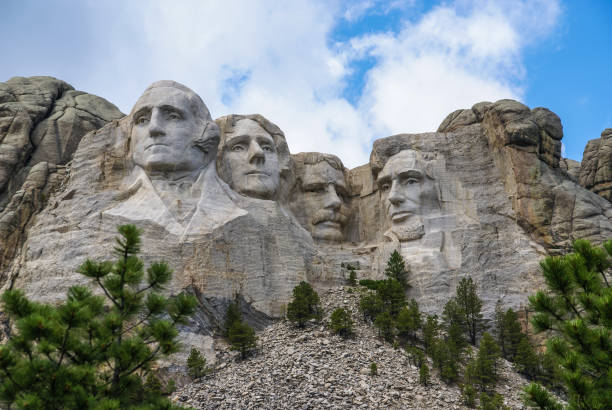 Mount Rushmore, South Dakota. Famous Landmark and Mountain Sculpture - Mount Rushmore, near Keystone, South Dakota. us president stock pictures, royalty-free photos & images