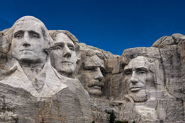 Mount Rushmore, Taken from entrance sidewalk. One of the most famous travel destinations in South Dakota. mount rushmore stock pictures, royalty-free photos & images