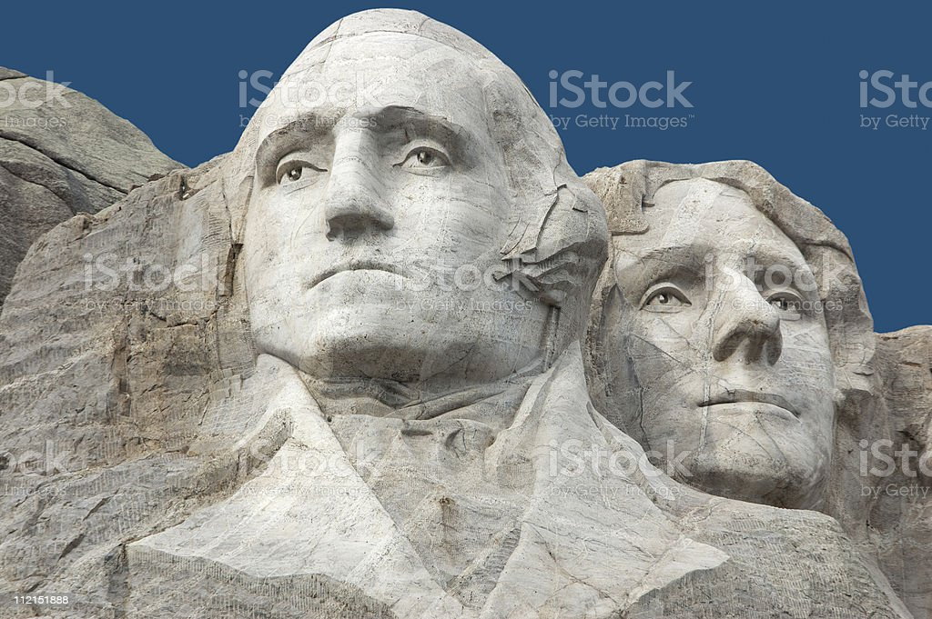 Mount Rushmore - Washington and Jefferson stock photo