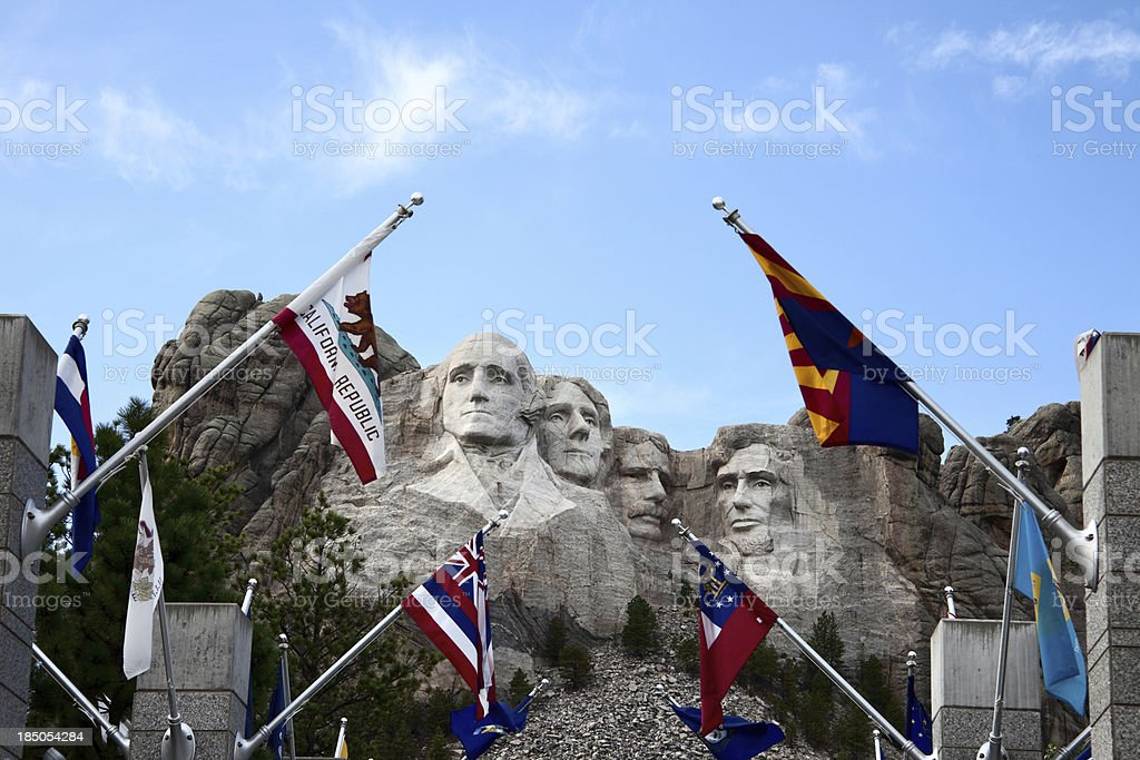 Mount Rushmore  with Flags at Visitor Center stock photo