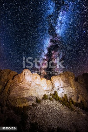 Mount Rushmore with milky way on the sky