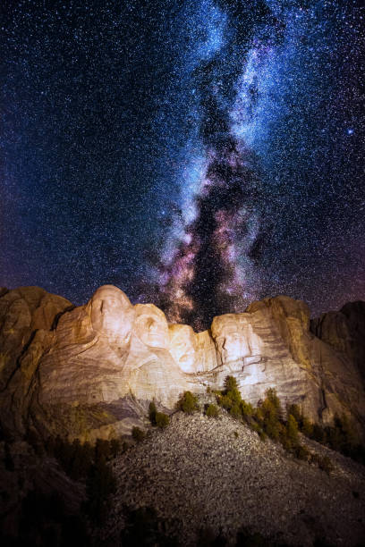 Mount Rushmore with milky way on the sky Mount Rushmore with milky way on the sky mount rushmore stock pictures, royalty-free photos & images