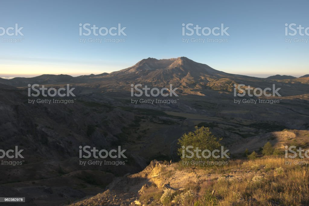 Mount Saint Helens crater and recovering blast zone stock photo