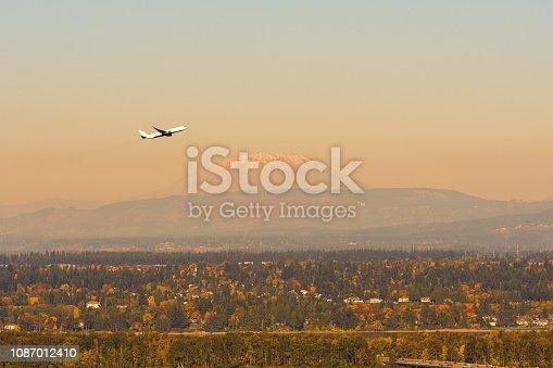 Mount Saint Helens over Portland, Oregon-USA