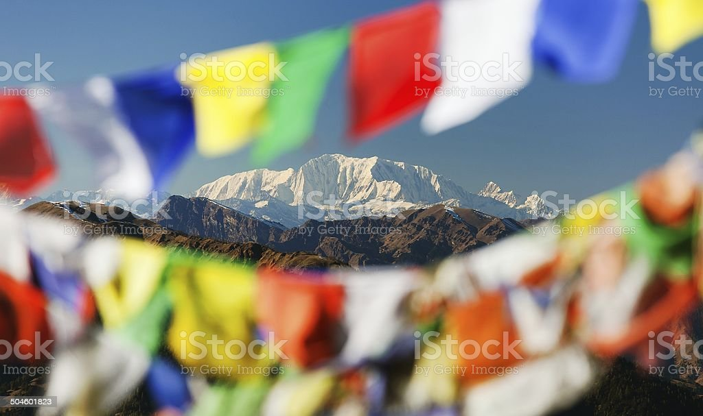 Mount Saipal with prayer flags royalty-free stock photo