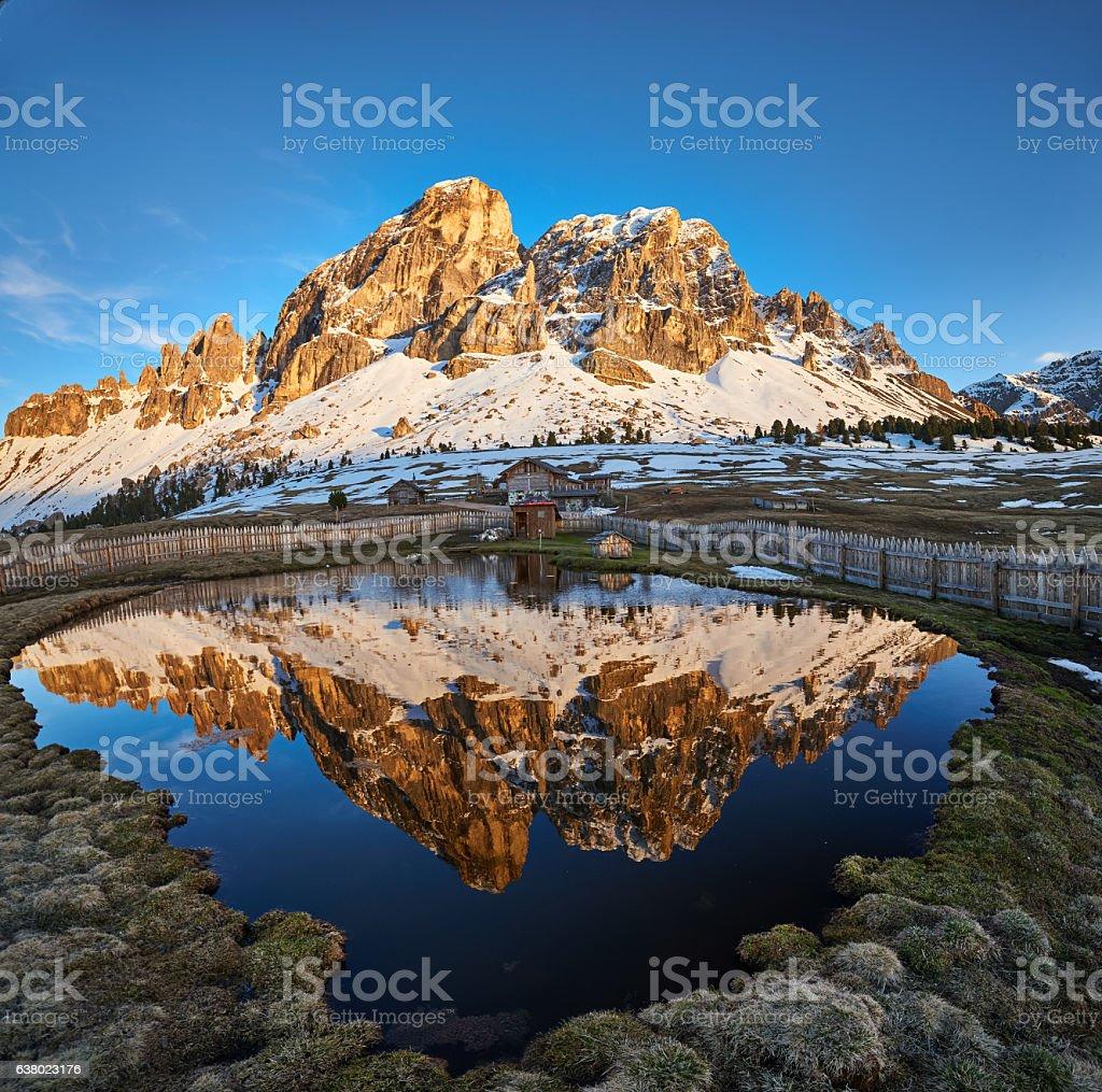 Mount Sas de Putia from Passo Erbe, Dolomites stock photo