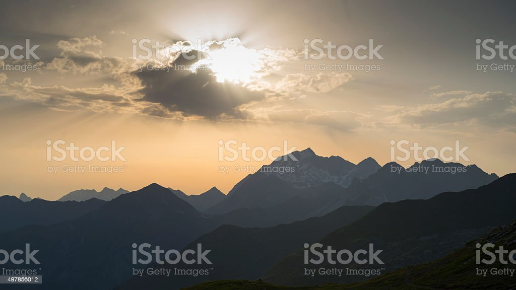 Mount Schesaplana in the Swiss Alps in the evening sun stock photo