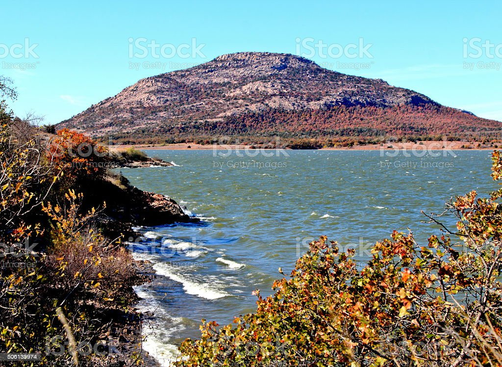 Mount Scott and Lake Lawtonka in Wichita Mountains of Oklahoma stock photo