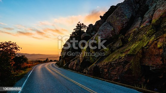 mountain road in wichita mountains wildlife refuge