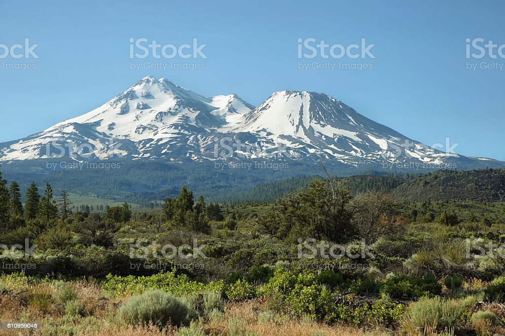 Mount Shasta and Mount Shastina in Northern California, stock photo