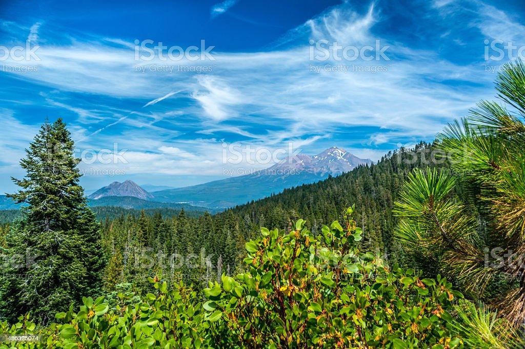 Mount Shasta, Black Butte in Northern California stock photo
