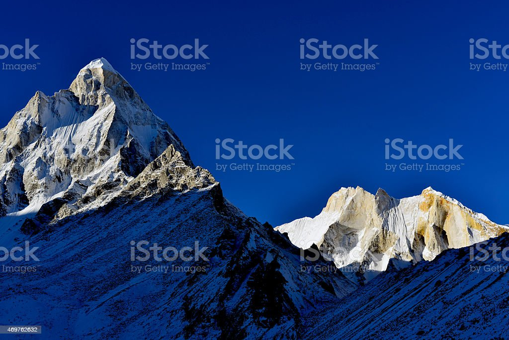 mount Shivling and Meru at sunrise in Garhwal Himalaya mountain stock photo