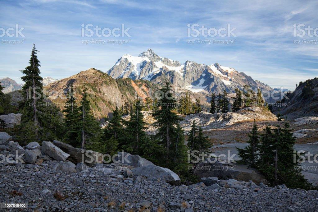 Mount Shuksan in autumn, WA, USA stock photo
