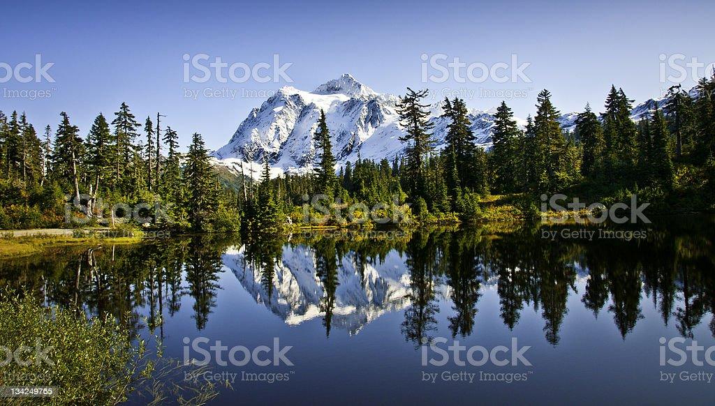 Mount Shuksan in Picture Lake stock photo