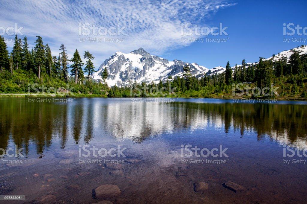 Mount Shuksan in summer, WA, USA stock photo