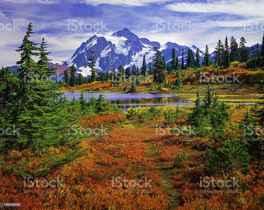 Mount Shuksan, Picture Lake, Washington, brilliant carpet orange autumn colors North Cascades National Park, Mt. Shuksan and Picture Lake in the fall, with carpet of brilliant red blueberry bushes Autumn Stock Photo