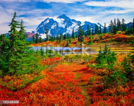North Cascades National Park, Mt. Shuksan and Picture Lake in the fall, with carpet of brilliant red blueberry bushes