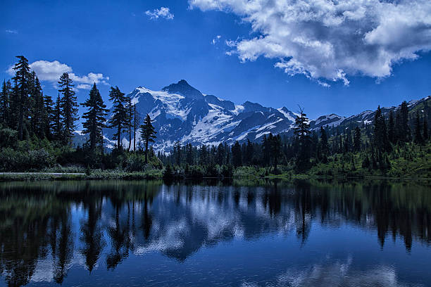 Mount Shuksan Reflection in summer - Photo
