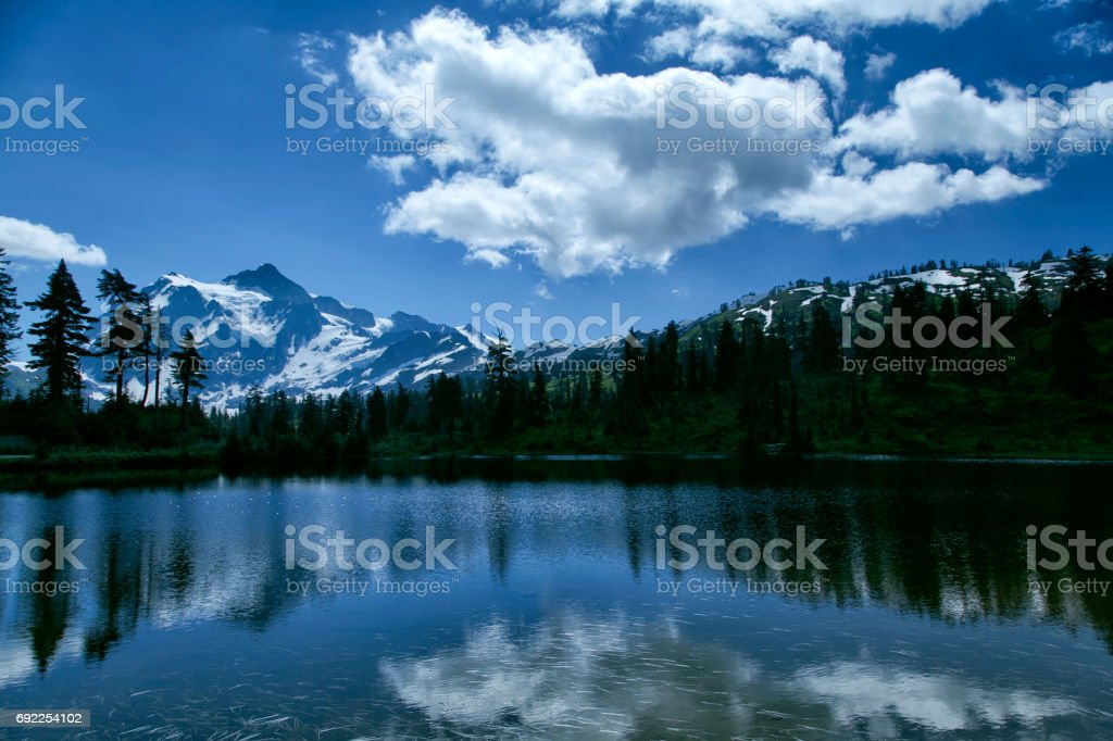 Mount Shuksan reflections in summer, Washington, USA stock photo