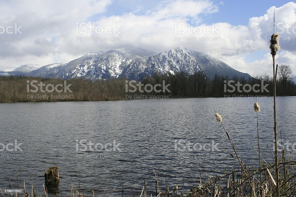 Mount Si with Snow stock photo