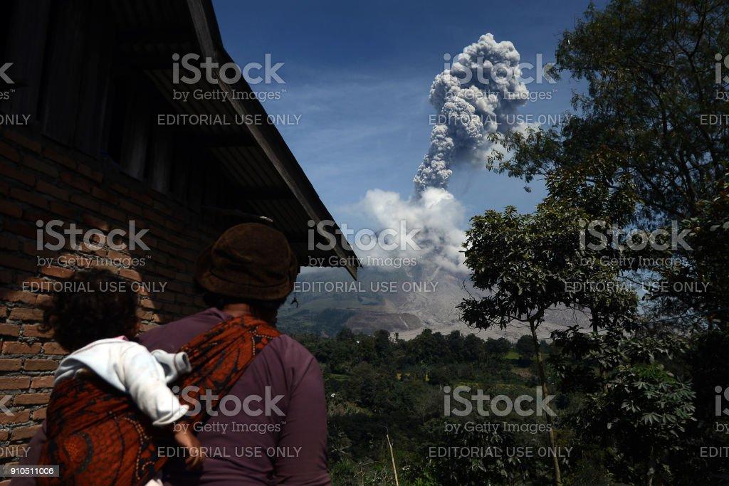 Mount Sinabung Eruption stock photo