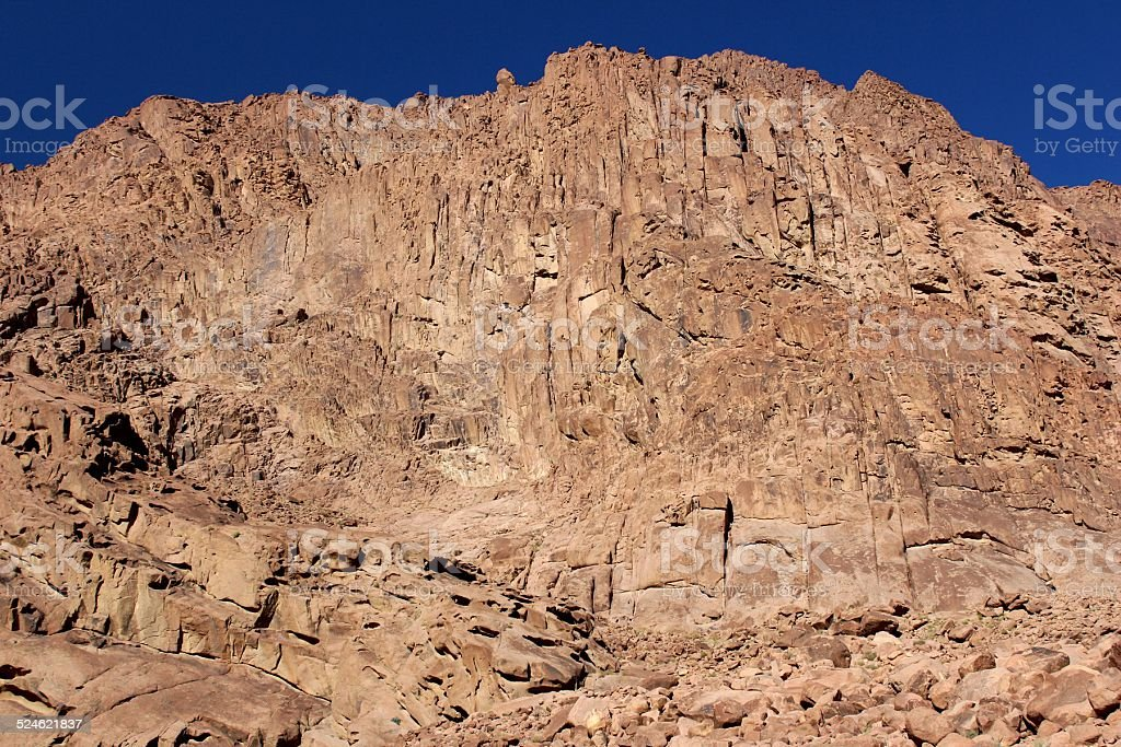 Mount Sinai under the blue sky stock photo