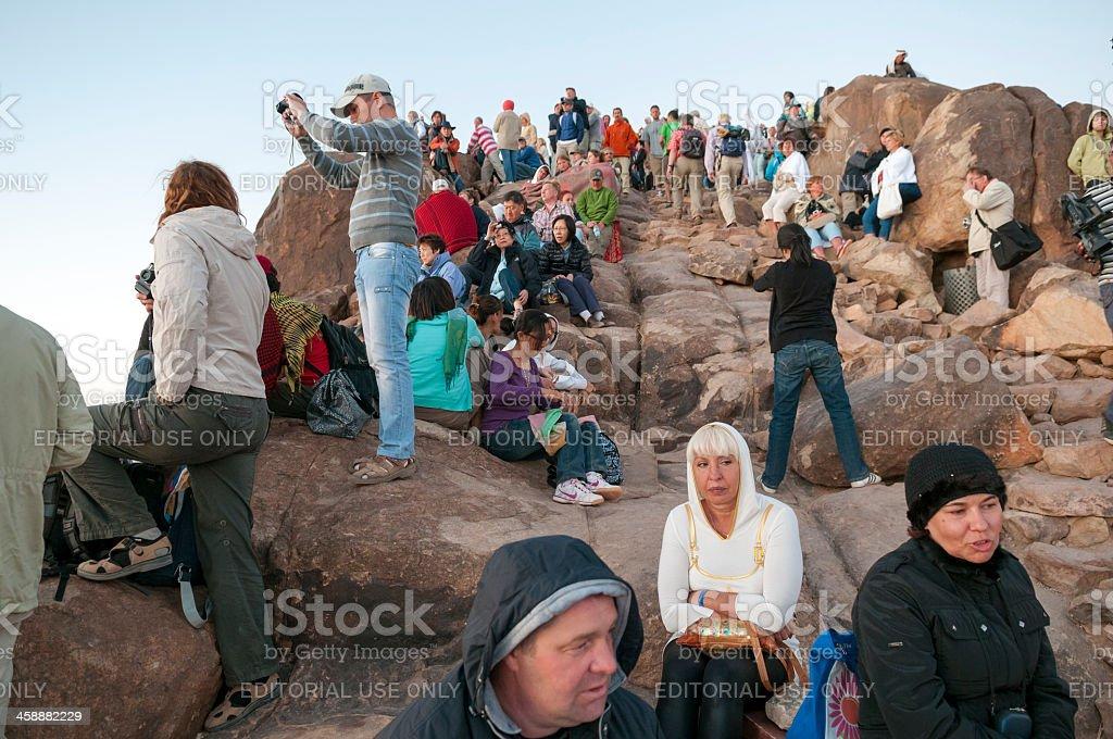 Mount Sinai visitors at sunrise stock photo