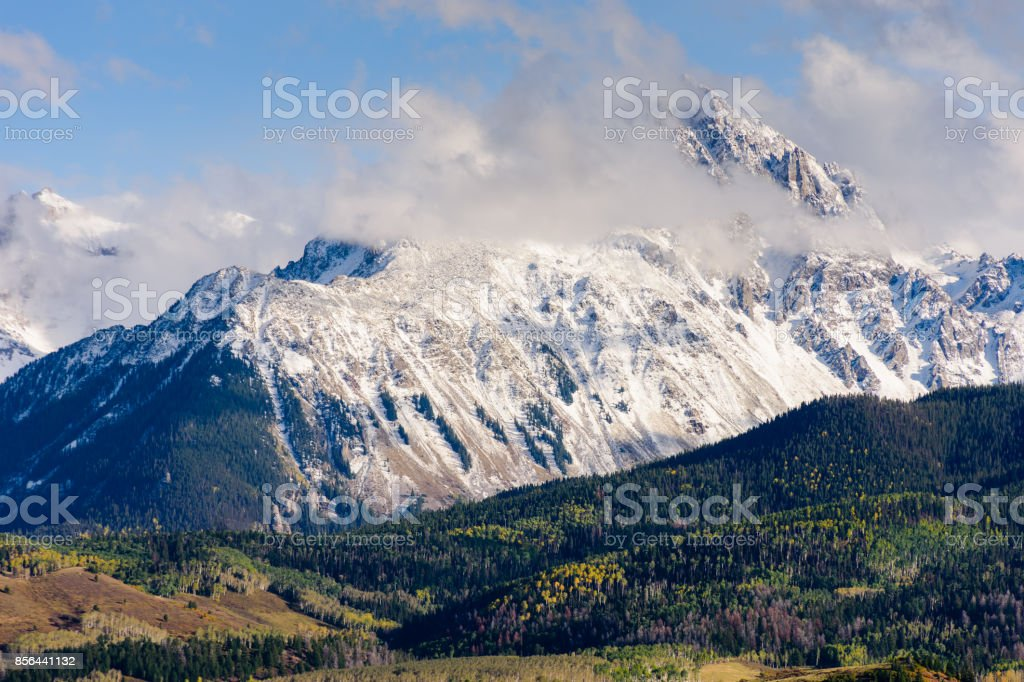 Mount Sneffels Dominates the Landscape of the San Juan Mountains in Colorado. stock photo