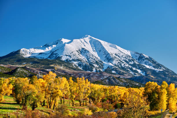 Mount Sopris autumn landscape in Colorado Mount Sopris autumn landscape in Colorado Rocky Mountains, USA. rocky mountains north america stock pictures, royalty-free photos & images