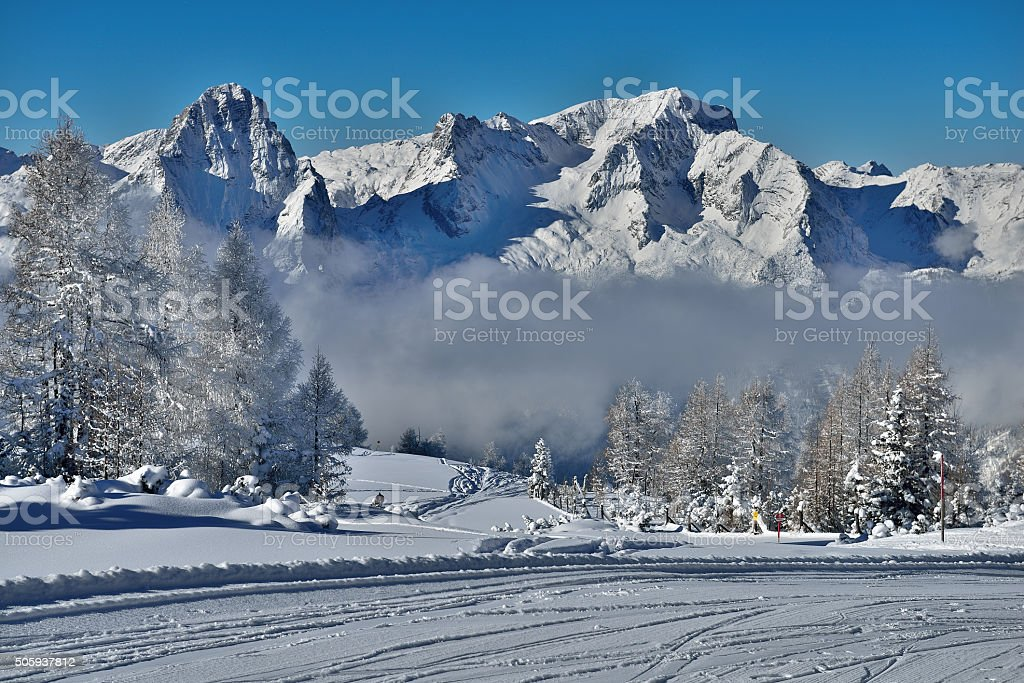 Mount Spitzmauer and great Priel in Upper Austria stock photo