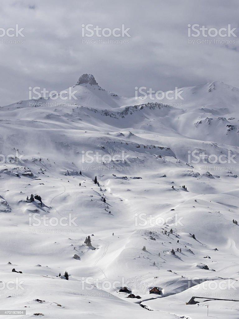 Mount Spitzmeilen and alpine settlement stock photo
