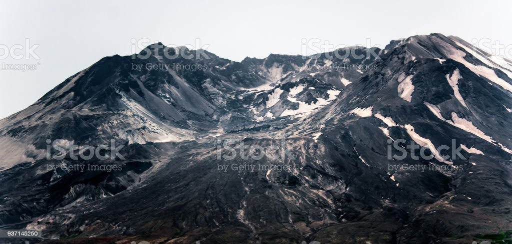 Mount St. Helens burnt blasted front with expanding lava dome stock photo