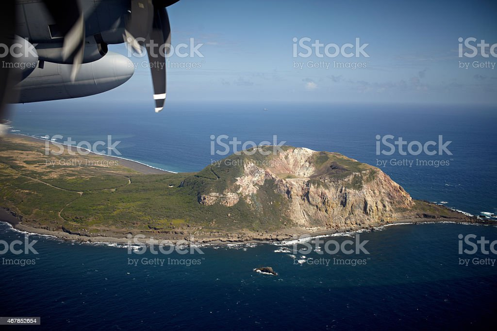 Mount Suribachi on Iwo Jima from above stock photo