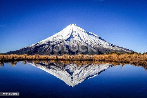View to Mount Taranaki (Egmont) at clear sky.