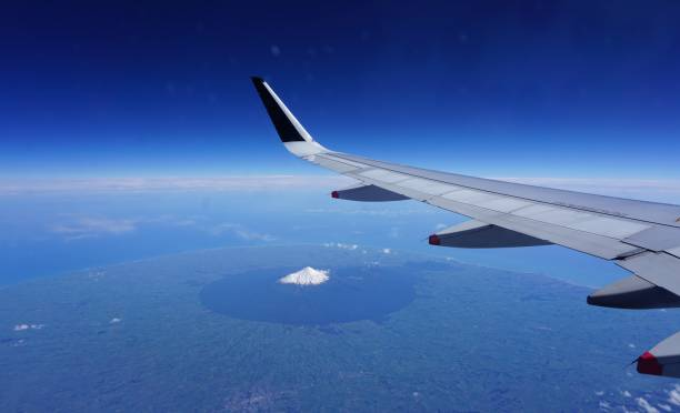 Mount Taranaki, New Zealand, seen from an air plane stock photo