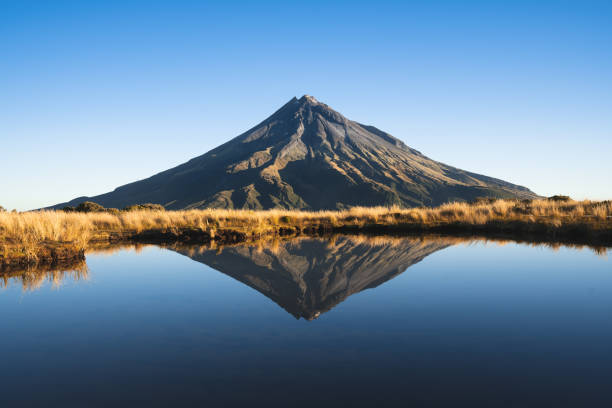 Mount Taranaki (Volcano in New Zealand) stock photo