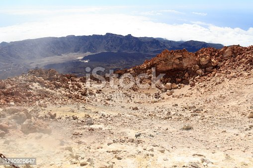 istock Mount Teide volcanic crater with fumarole emitting sulfur dioxide and mountain panorama on Canary Island Tenerife, Spain 1240925647