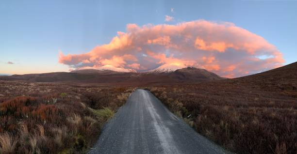 Mount Tongariro Clouds stock photo