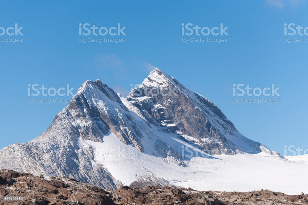 Mount Uranostinden and Uranosbreen glacier in Jotunheimen National Park stock photo