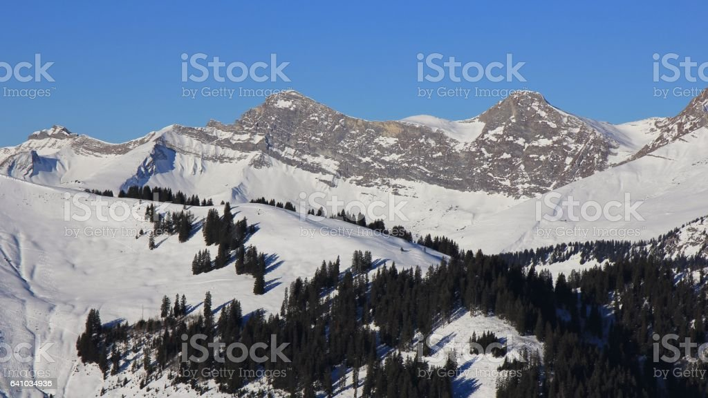 Mount Vanil Noir and other peaks seen from the Rellerli ski area stock photo