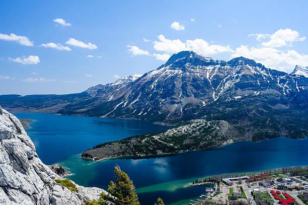Mount Vimy, Waterton Lake and townsite stock photo
