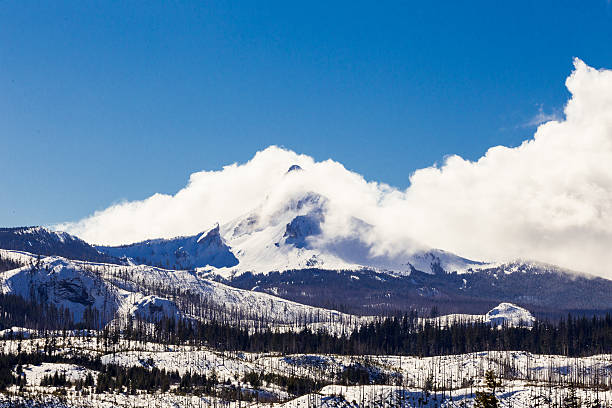 Mount Washington Wilderness in Winter Snow Mt Washington covered in snow in the Winter with clouds covering the summit. mount washington new hampshire stock pictures, royalty-free photos & images