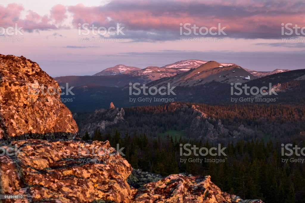 Mount Yamantau at sunrise, Ural mountains, Russia stock photo
