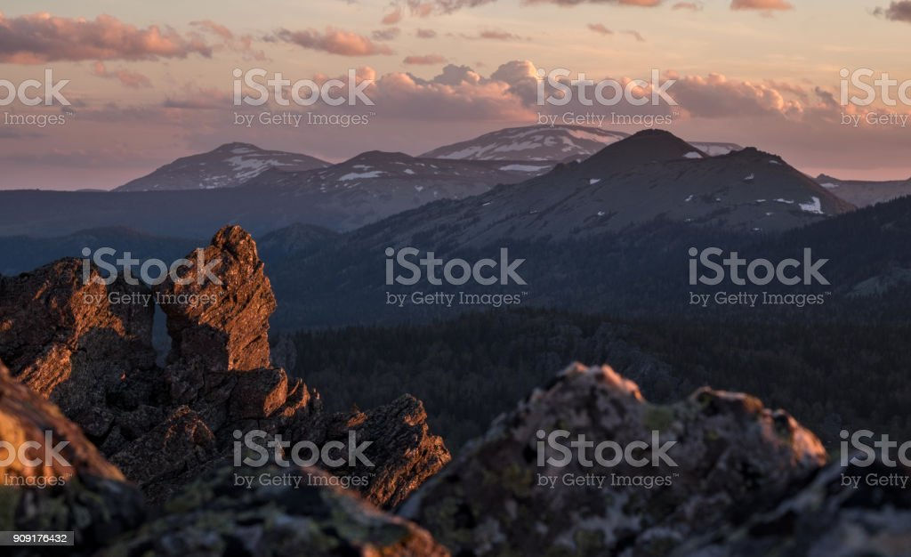 Mount Yamantau, Ural mountains, Russia stock photo