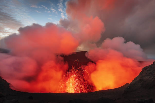 Mount Yasur Tanna Island Vanuatu Volcano Eruption stock photo