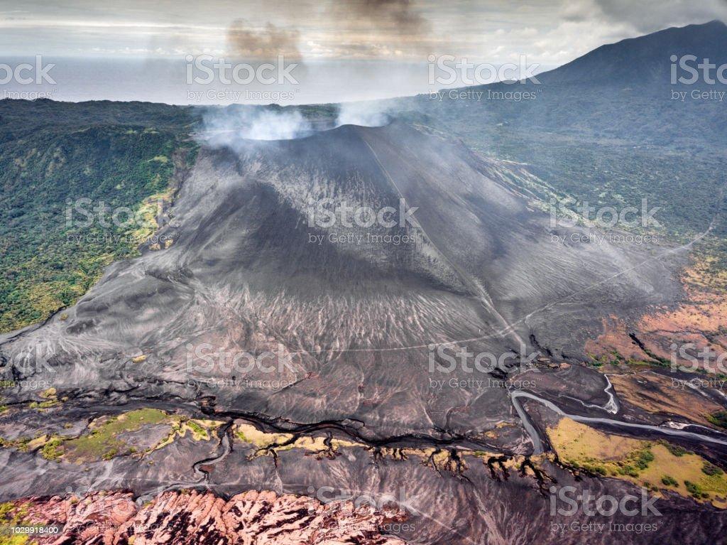 Mount Yasur Volcano Aerial View Tanna Island Vanuatu stock photo