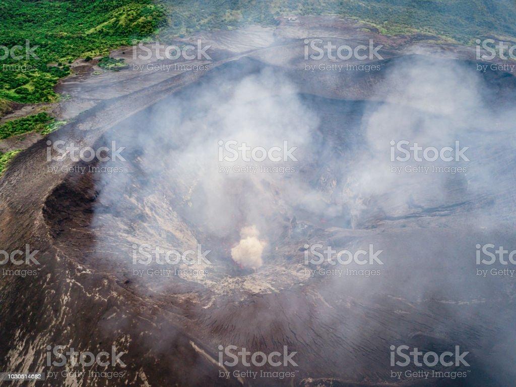 Mount Yasur Volcano Crater Aerial View Tanna Island Vanuatu stock photo